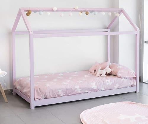 cama casita montessori rosa comprar