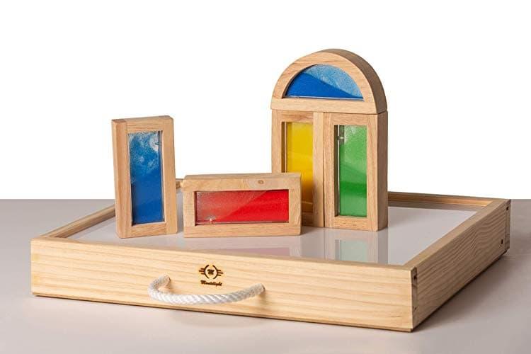 mesa montessori de luz niños