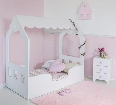 cama casita blanca niña