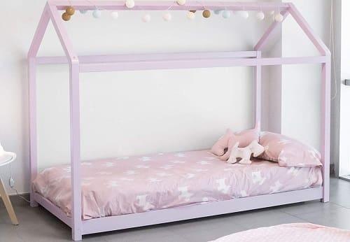 cama casita niña rosa